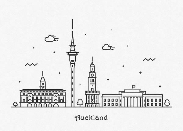Landmark Center Drawing - Auckland Cityscape Travel Poster by Inspirowl Design