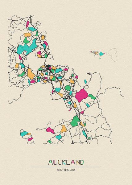 Wall Art - Digital Art - Auckland, New Zealand City Map by Inspirowl Design