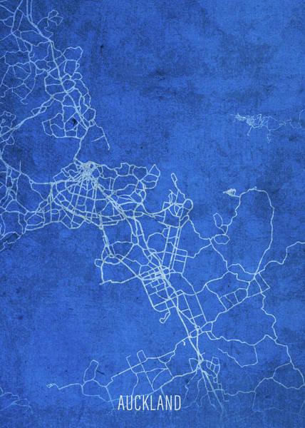 Wall Art - Mixed Media - Auckland New Zealand City Street Map Blueprints by Design Turnpike