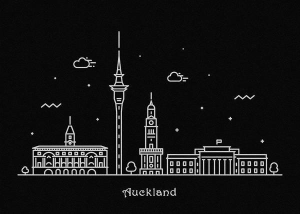 Wall Art - Photograph - Auckland Skyline Travel Poster by Inspirowl Design