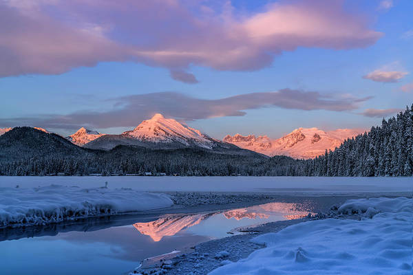 Wall Art - Photograph - Aude Lake And Coast Mountains In Winter by John Hyde