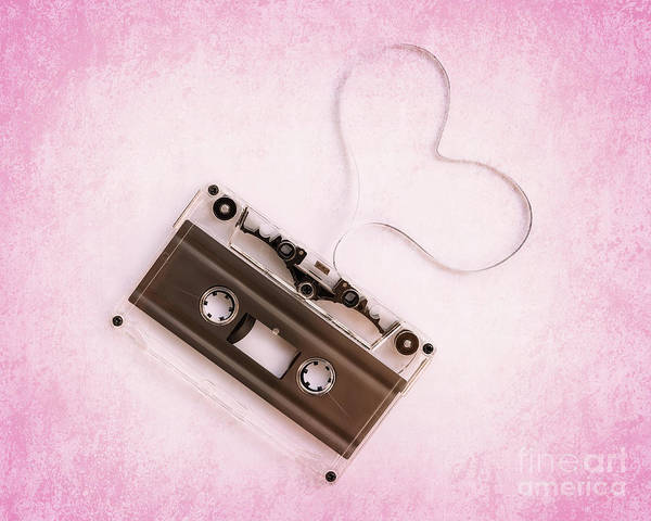 Wall Art - Photograph - Audio Cassette Love Pink by Delphimages Photo Creations