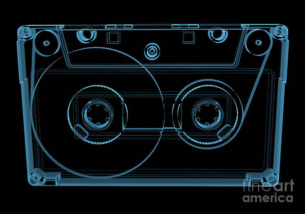 Blank Wall Art - Digital Art - Audio Cassette Tape 3d Xray Blue by X-ray Pictures