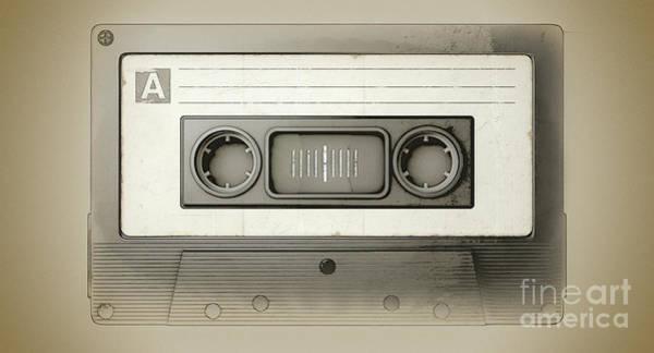 Play Music Digital Art - Audio Cassette Tape by Allan Swart