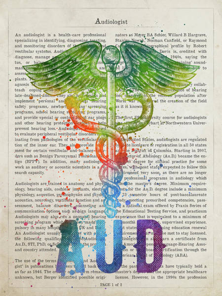 Wall Art - Digital Art - Audiologist Gift Idea With Caduceus Illustration 03 by Aged Pixel