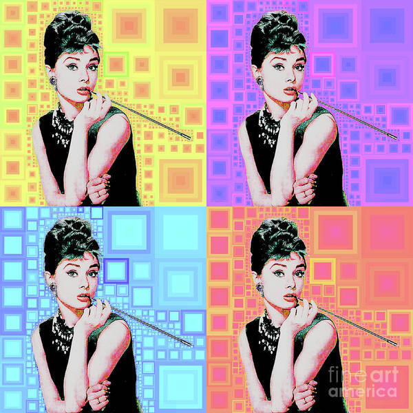 Wall Art - Photograph - Audrey Hepburn Breakfast At Tiffanys In Mca Mid Century Abstract Squares Four 20190223 by Wingsdomain Art and Photography