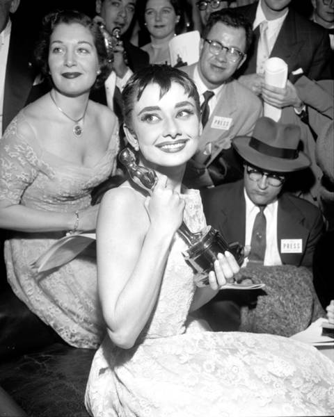 Photograph - Audrey Hepburn, Holds Her Academy Award by New York Daily News Archive