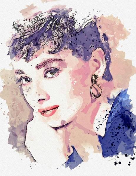 Painting - Audrey Hepburn Watercolor By Ahmet Asar by Ahmet Asar