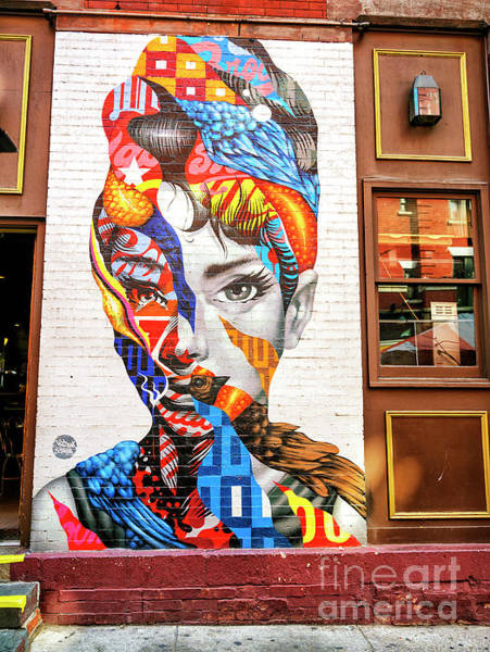 Photograph - Audrey Mural In Little Italy New York City by John Rizzuto