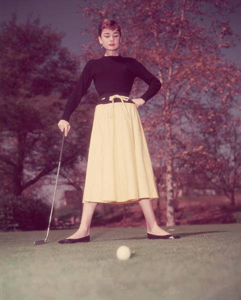 Photograph - Audrey Plays Golf by Hulton Archive
