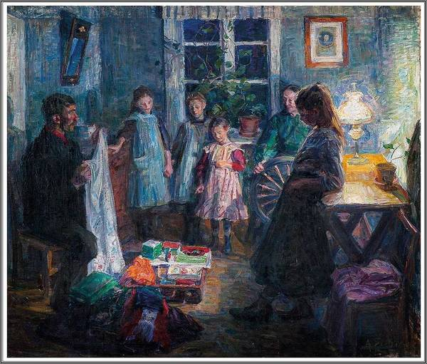 Wall Art - Painting - August Eiebakke  1867-1938  Le Colporteur - 1910 by Celestial Images