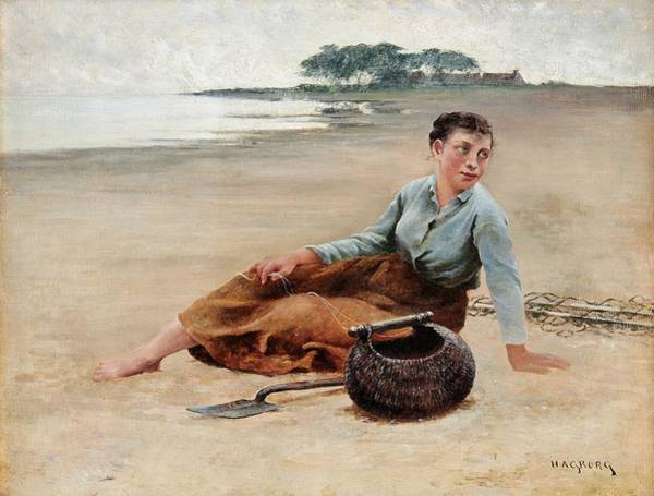 Wall Art - Painting - August Hagborg  1852-1921 . Musselplockerska On The Beach by Celestial Images