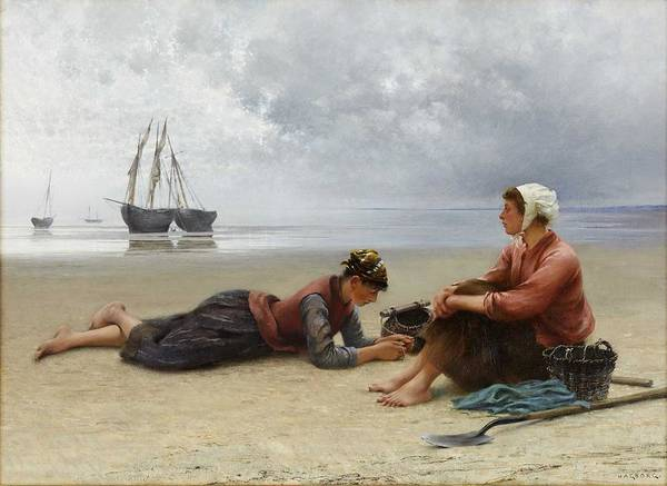 Wall Art - Painting - August Hagborg 1852-1921 Resting Mussel Pickles by Celestial Images