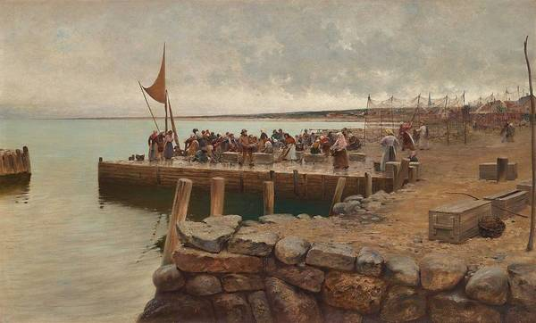 Wall Art - Painting - August Hagborg,   Fishermen In The Harbour Of Torekov, Sweden  by Celestial Images