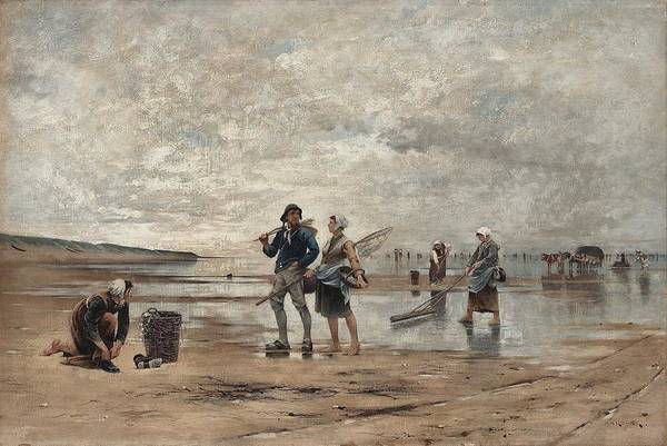 Wall Art - Painting - August Hagborg, Shellfish Fishing At Low Tide, Scene From Normandy by Celestial Images