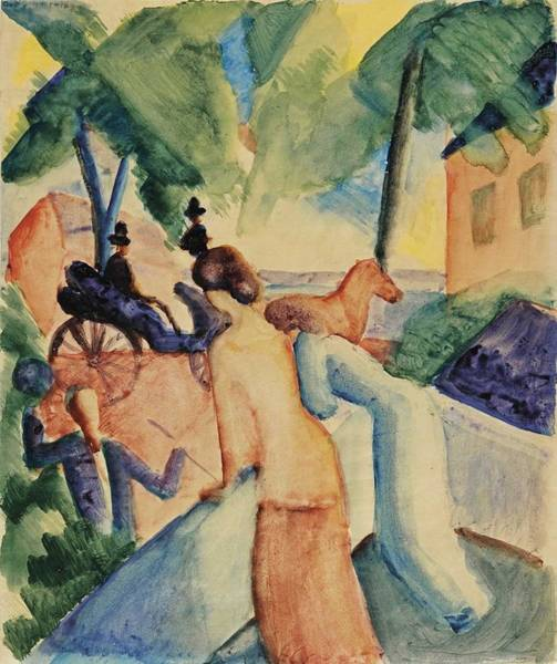 Wall Art - Painting - August Macke 1887 - 1914 Begrussung  Greeting  by Celestial Images