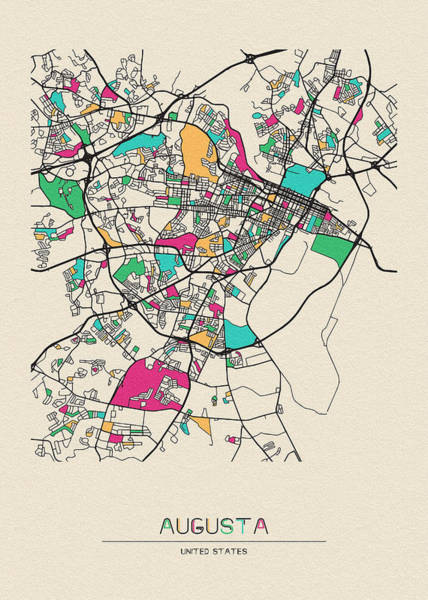 Wall Art - Digital Art - Augusta, Georgia City Map by Inspirowl Design