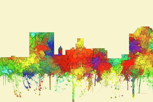 Wall Art - Digital Art - Augusta Georgia City Skyline Watercolor 2 by Marlene Watson