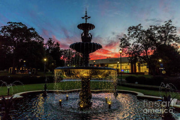 Photograph - Augusta University Fountain Sunset Ga by Sanjeev Singhal