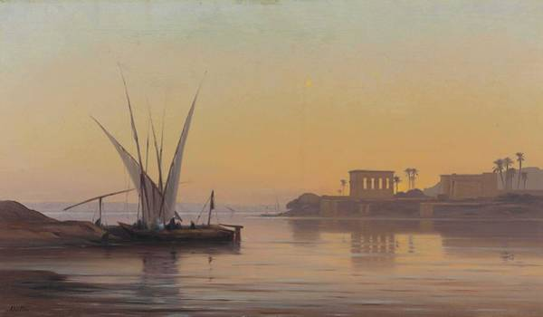 Wall Art - Painting - Auguste Louis Veillon  Swiss, 1834 1890 The Temple At Philae by Celestial Images