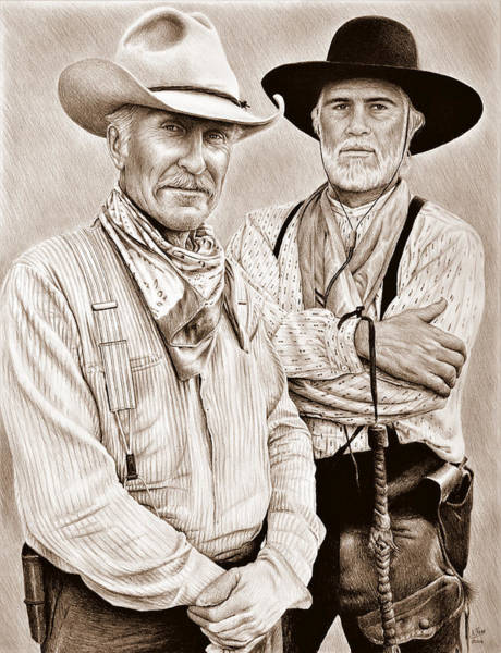 Wall Art - Drawing - Augustus And Woodrow Sepia by Andrew Read