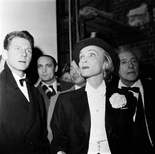 Photograph - Aumont, Dietrich And Cocteau At The by Keystone-france