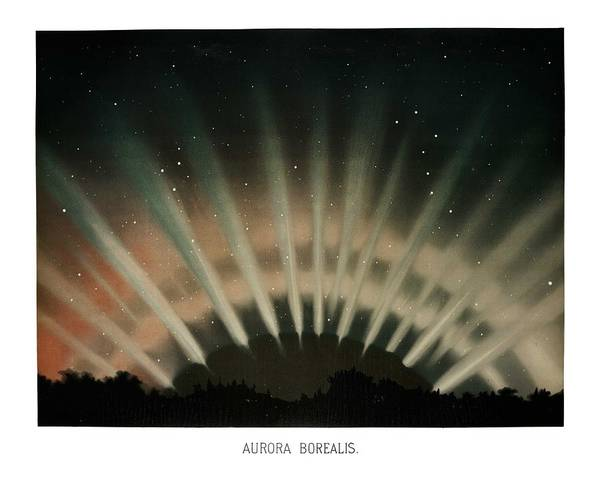 Wall Art - Painting - Aurora Borealis From The Trovelot Astronomical Drawings  1881-1882  By E. L. Trouvelot  1827-1895  by Celestial Images