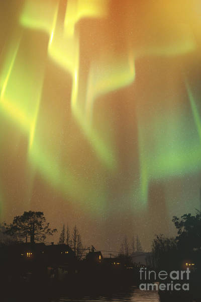 Wall Art - Digital Art - Aurora Borealis,northern Lights Above by Tithi Luadthong