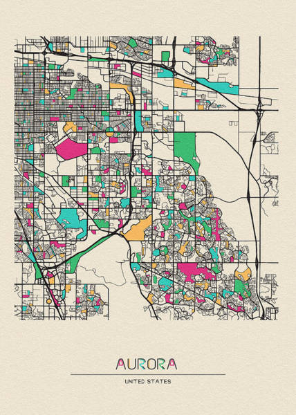 Wall Art - Digital Art - Aurora, Colorado City Map by Inspirowl Design