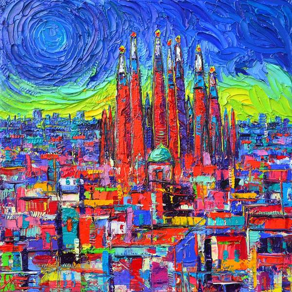 Painting - Aurora In Barcelona Sagrada Familia Impasto Textural Abstract City Knife Painting Ana Maria Edulescu by Ana Maria Edulescu