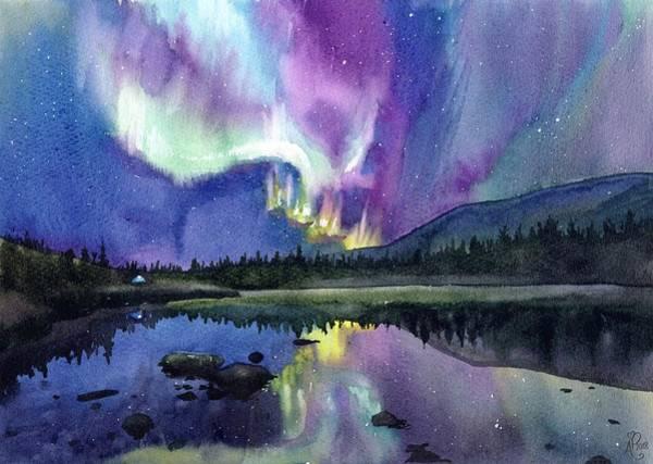 Blacklight Painting - Aurora Night Sky by Natalia Stasishina