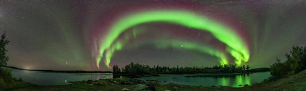 Photograph - Aurora Panorama At Tibbitt Lake by Alan Dyer