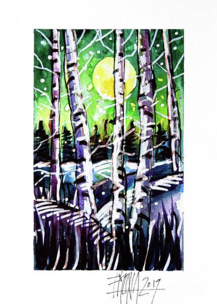 Aurora Borealis Painting - Aurora Visit - Winterscape Watercolor - Mona Edulesco by Mona Edulesco