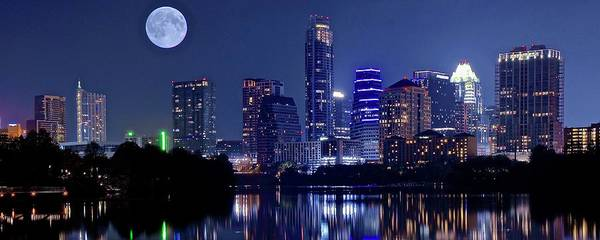 Townscape Photograph - Austin At Lady Bird Lake With Moon by Frozen in Time Fine Art Photography
