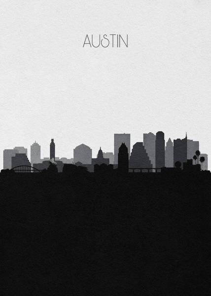 Digital Art - Austin Cityscape Art V2 by Inspirowl Design