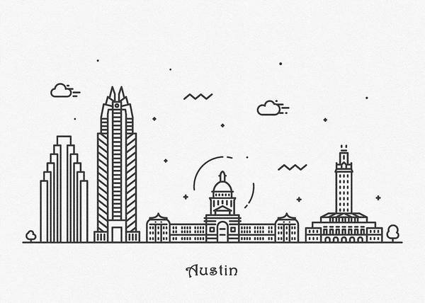 Wall Art - Drawing - Austin Cityscape Travel Poster by Inspirowl Design