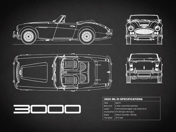 Wall Art - Photograph - Austin-healey 3000 Blueprint Black by Mark Rogan