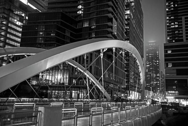 Photograph - Austin Lighted Bridge Austin Tx Texas Black And White by Toby McGuire