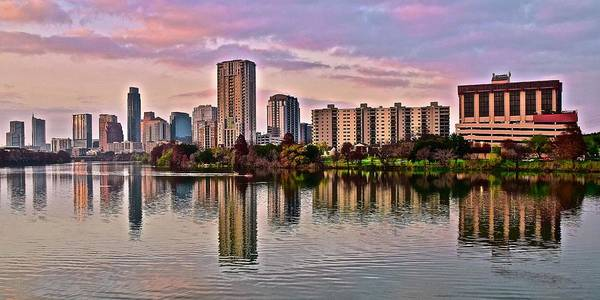 Texas Capitol Photograph - Austin River Walk Sunset by Frozen in Time Fine Art Photography