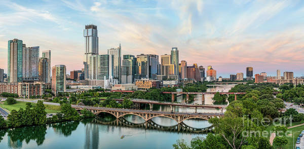 Wall Art - Photograph - Austin Skyline Aerial Sunset Pano by Bee Creek Photography - Tod and Cynthia