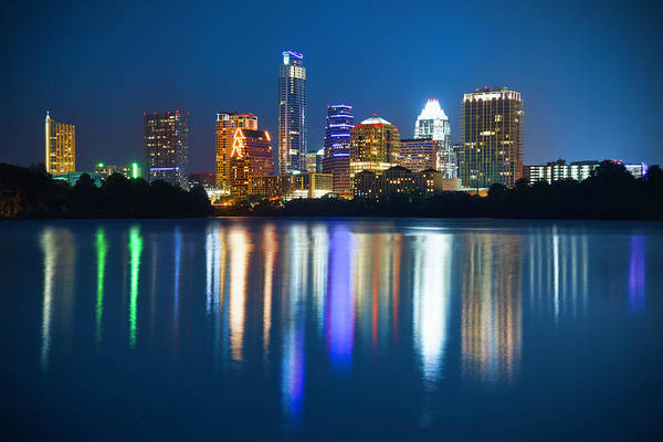 Downtown Austin Photograph - Austin Skyline Cityscape At Night by Dszc