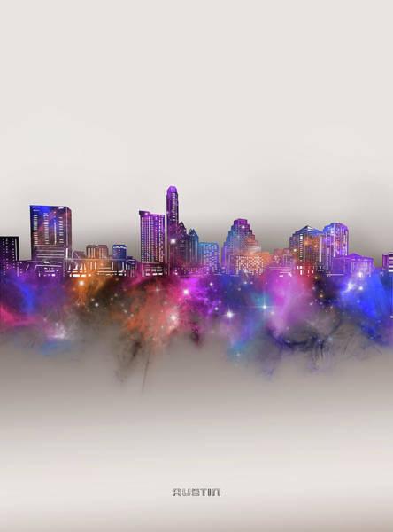Wall Art - Digital Art - Austin Skyline Galaxy by Bekim M