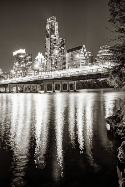 Photograph - Austin Skyline Over Lady Bird Lake Reflections - Sepia Edition by Gregory Ballos