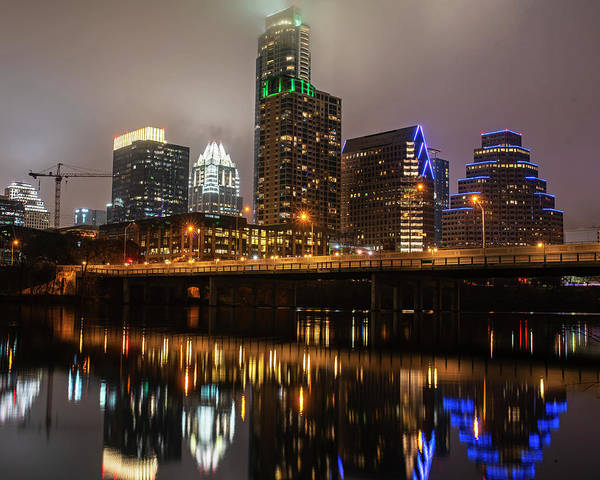 Photograph - Austin Skyline Reflection Colorado River Austin Tx Texas by Toby McGuire