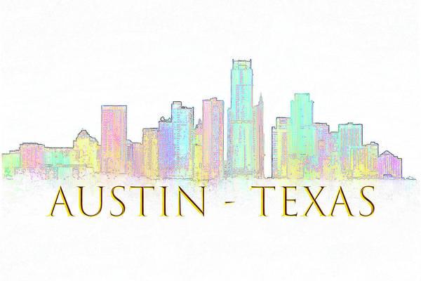 Digital Art - Austin Skyline by Renee Logan