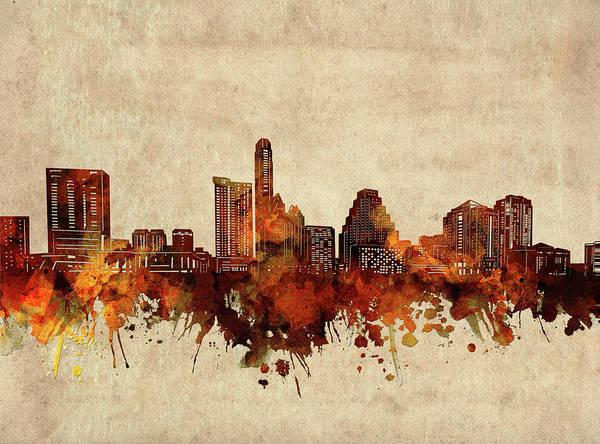 Wall Art - Digital Art - Austin Skyline Sepia by Bekim M