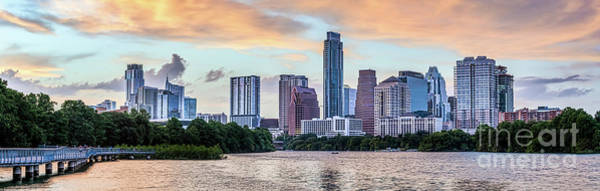 Wall Art - Photograph - Austin Skyline Sunset Pano 2019 by Bee Creek Photography - Tod and Cynthia