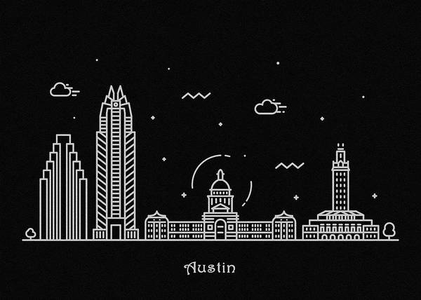 Wall Art - Drawing - Austin Skyline Travel Poster by Inspirowl Design
