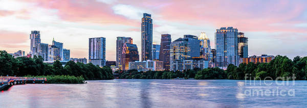 Wall Art - Photograph - Austin Skyline Twilight Glow Pano 19 by Bee Creek Photography - Tod and Cynthia