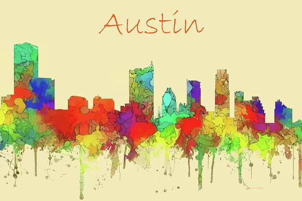 Wall Art - Digital Art - Austin Skyline Watercolor by Marlene Watson